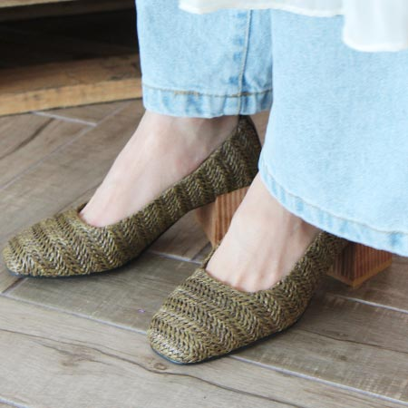 rattan chunky heel pumps (4 colors)