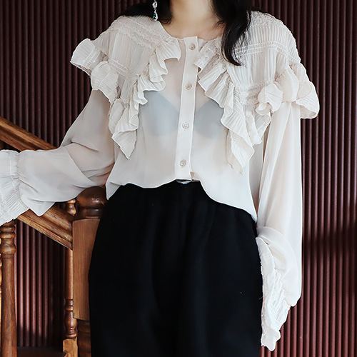bling collar see-through blouse (3 colors)