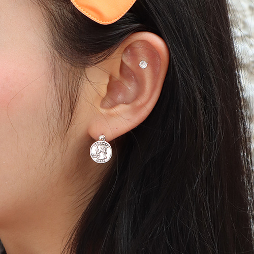 [silver 925] quarter coin earring (2 types)
