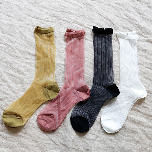 twinkle stripe see-through socks (4 colors)