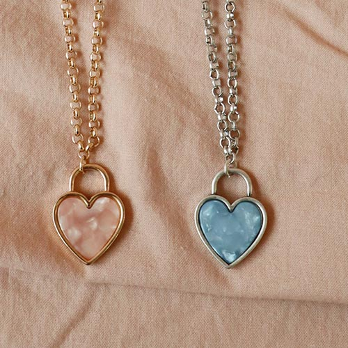 marble heart necklace (2 colors)