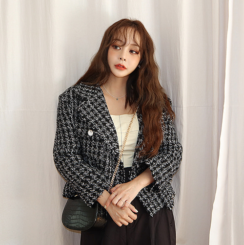boxy tweed jacket (2 colors)