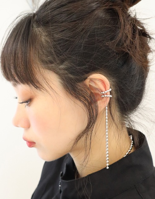 ball chain long earcuff