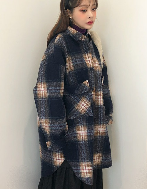 wool check over coat (2 colors)