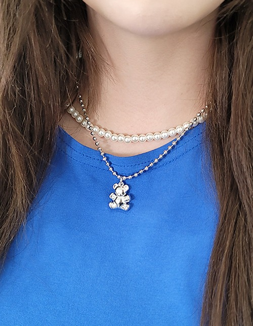 bear&pearl necklace set