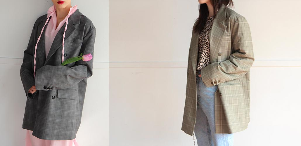 oversize double check jacket (2 colors)