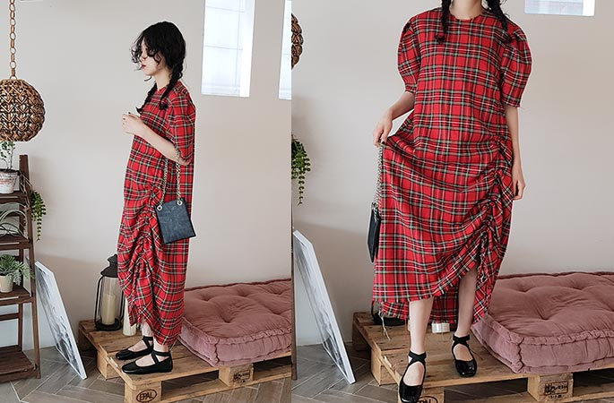 tartan check shirring dress (2 colors)