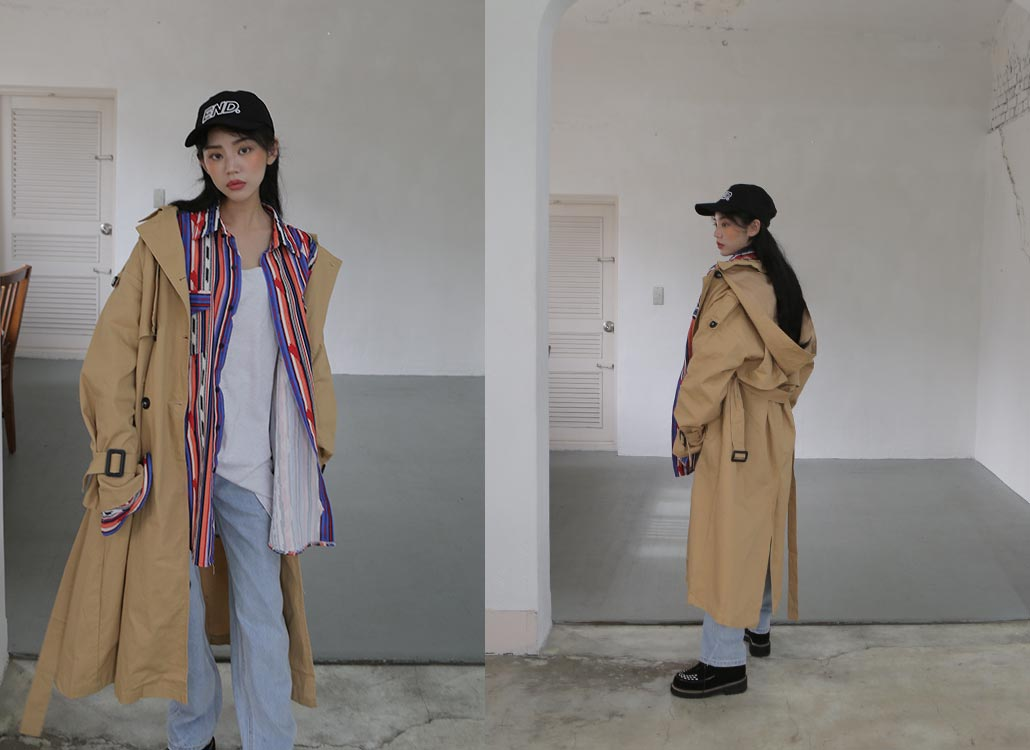 hoody trench coat (2 colors)