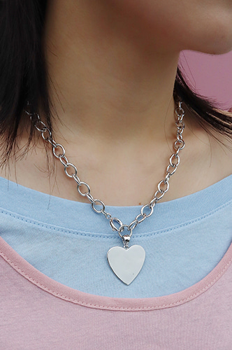 flat heart chain necklace