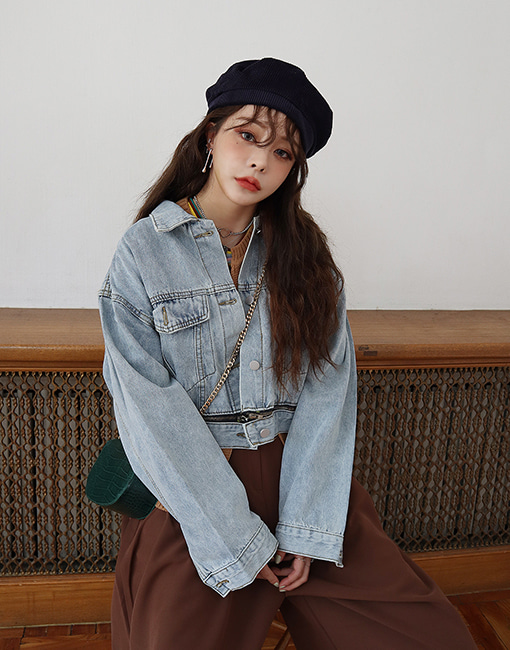 under zipper short denim jacket