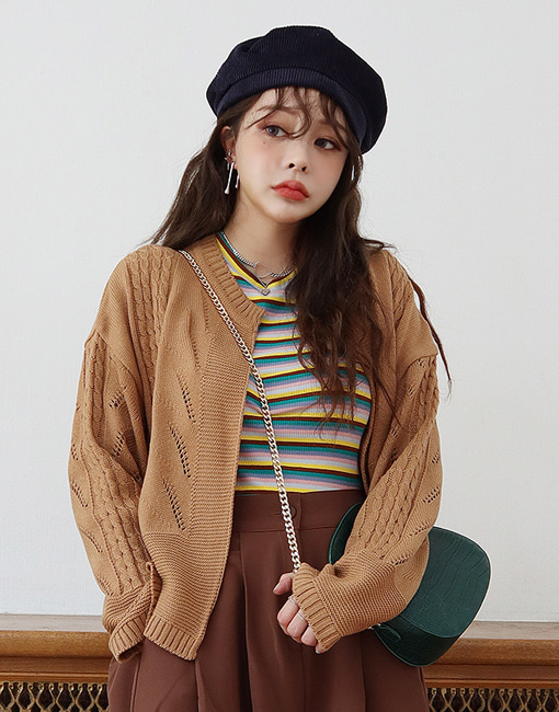 knit open short cardigan (5 colors)