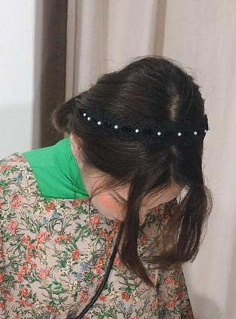 pearl lace hair band