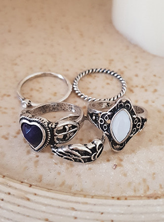 antique heart 5set ring