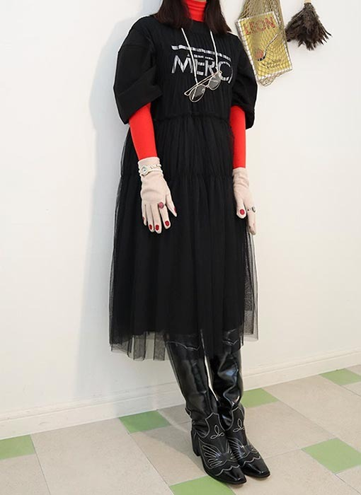 tulle long dress (2 colors)밑단 안감기모!