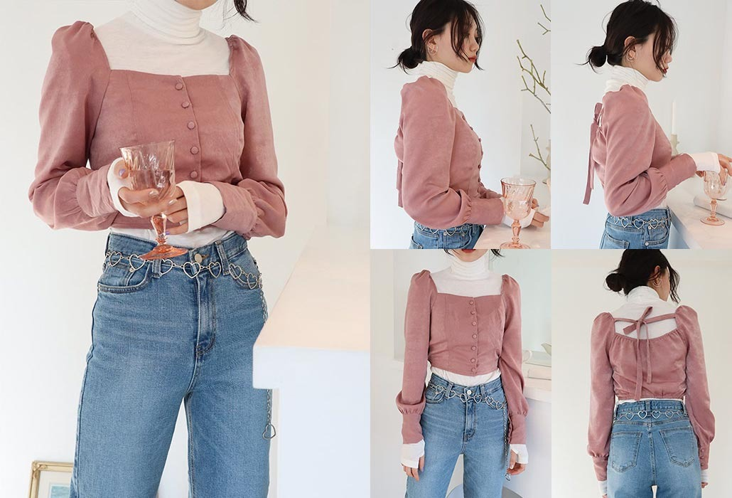 square neck crop blouse (+back ribbon)