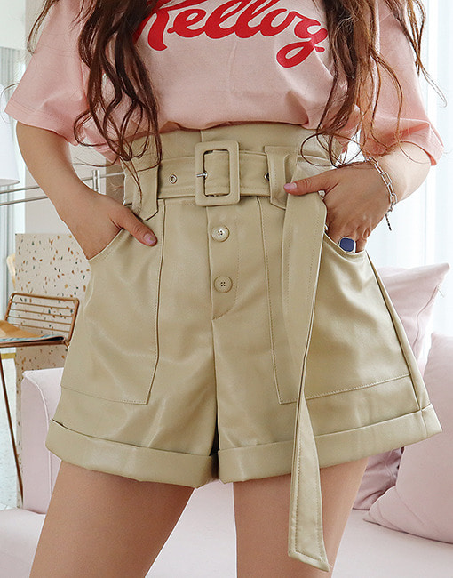 faux leather high waist shorts (2 colors)