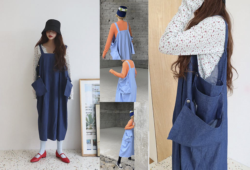 side pocket denim overall dress (2 colors)