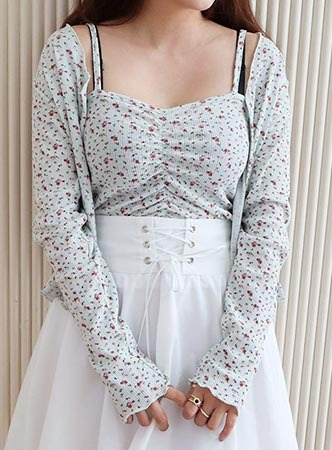 mini flower cardigan+cami set (3 colors)