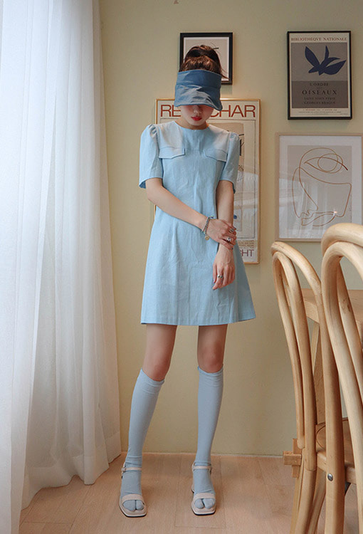linen retro mini dress (2 colors)