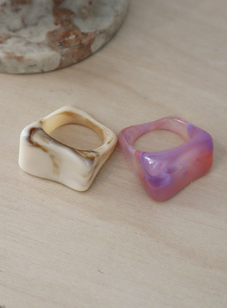 marble acrylic ring (2 colors)