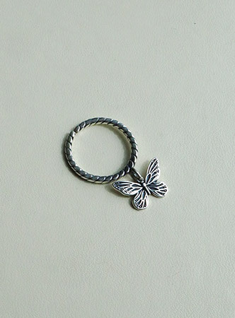 [silver925]antique silver butterfly ring