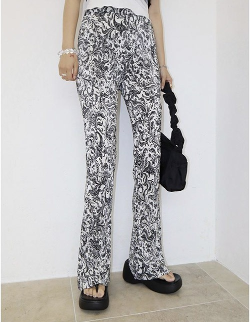 paisley pleats silm pants (2 colors)