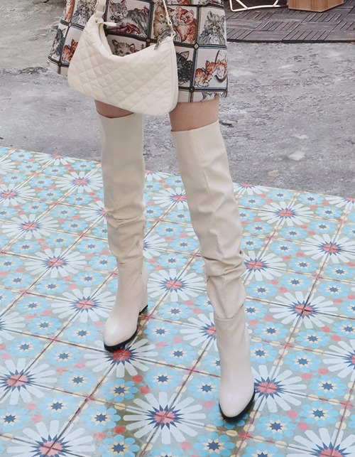 shirring thigh high boots (3 colors)