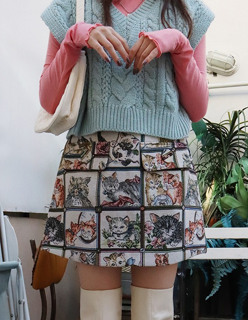 cat jacquard skirt (2 size)