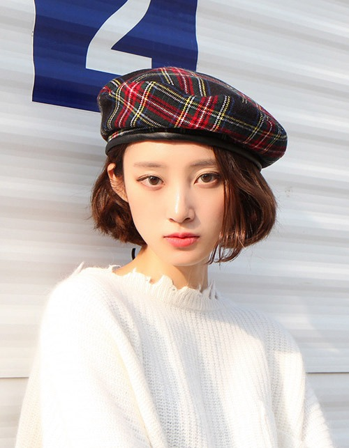 thick piping tartan beret (2 colors)