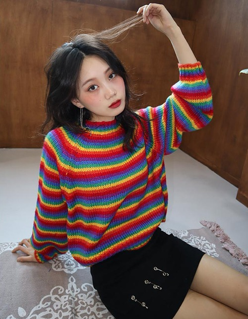 rainbow crop knit top