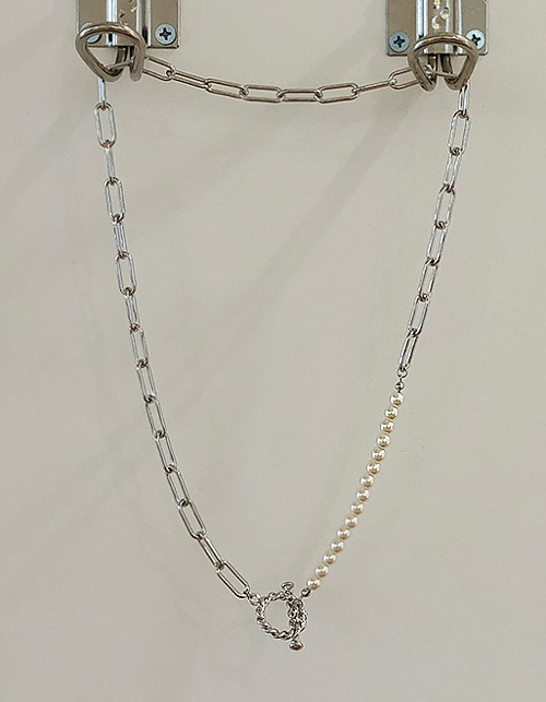 pearl&chain mix long necklace