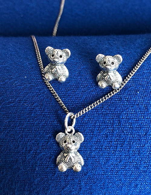 [925 silver]Little Bear necklace & earring